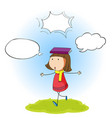 girl with speech balloon vector image vector image