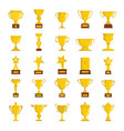 Gold cup awards icons collection vector image