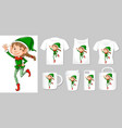 graphic christmas elf on different types of vector image vector image
