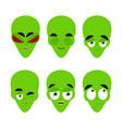 green alien emoji emotion set aggressive and good vector image vector image