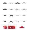 grey moustaches icon set vector image