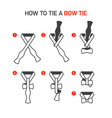 how to tie a bow tie instructions vector image vector image