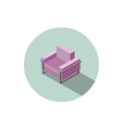 isometric modern pink armchair 3d flat interior vector image vector image