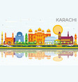 karachi skyline with color landmarks blue sky and vector image vector image