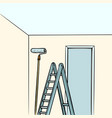 ladder repair paint roller vector image vector image