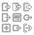 logout and exit arrow icons set on white vector image vector image