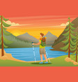 man admires beauty nature on lake vector image
