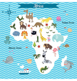 Map of Africa continent with animals vector image