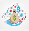 money bag with loop arrow and icon set design vector image