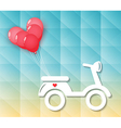motorcycle with red heart balloons vector image