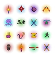 Ninja weapon icons set comics style vector image vector image