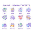 online library concept icons set book catalogue vector image vector image