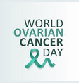 ovarian cancer awareness teal green ribbon with vector image vector image