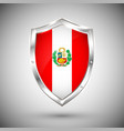 peru flag on metal shiny shield collection of vector image vector image