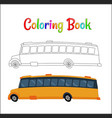 school bus coloring page back to school concept vector image vector image
