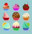 set of nine sweets vector image vector image