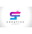 sf s f letter logo with shattered broken blue vector image vector image
