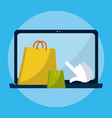 shopping online from laptop vector image vector image