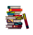 stack colorful books on a white background vector image vector image
