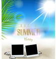 Summer holidays background with film frame vector image vector image