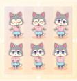sweet kitty little cute kawaii anime cartoon husky vector image vector image