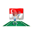 The flag of Singapore at the back of the tennis vector image vector image