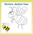trace game for children cartoon bee restore vector image