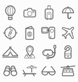 Travel symbol line icon set vector image