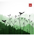two black birds on trees branches and mountains vector image vector image