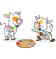 two original cows painted spots on their body vector image vector image