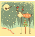 Vintage Christmas card with funny bull in holiday vector image