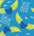 winged blue hearts vector image vector image
