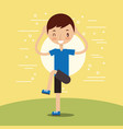 young boy training fitness stertching vector image vector image