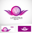 Letter V pink purple wings logo vector image