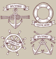 Engraved set of marine icons vector image