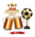 beer mugs and football cup winner realistic vector image