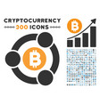 bitcoin collaboration flat icon with set vector image
