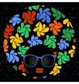 Black head woman in retro glasses vector image vector image