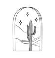 bohemian modern arch logo design cactus stars