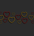 bright red and yellow neon hearts abstract vector image vector image