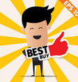 Business man holding Sticker Best tag collection - vector image vector image
