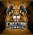 cheetah gunner esport mascot logo vector image vector image