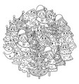 circle shape coloring page with funny christmas vector image vector image