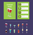 cocktail party menu list cocktail price ingredient vector image vector image