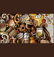 coffee hand drawn doodle banner cartoon detailed vector image vector image