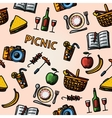 Color hand drawn picnic pattern vector image vector image