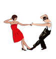 couple man and woman dancing vintage dance pop vector image vector image