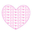 cute big rose heart sticker with little hearts vector image vector image