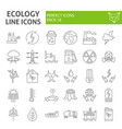 ecology thin line icon set eco symbols collection vector image