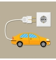 Electric Vehicle car with plug vector image vector image